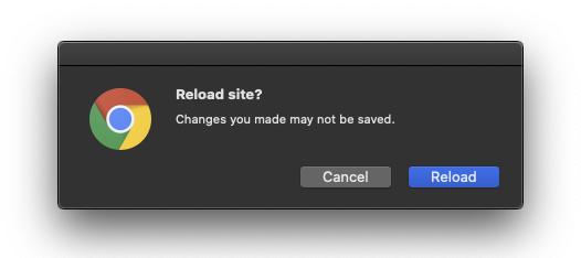 Reload warning screenshot