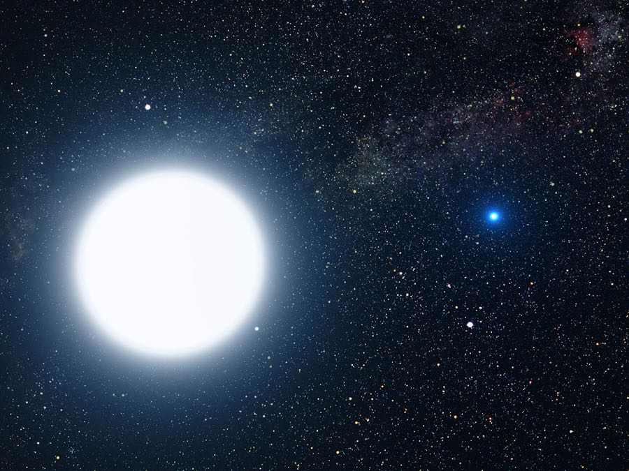 Binary star system of Sirius A and Sirius B (artist's impression)