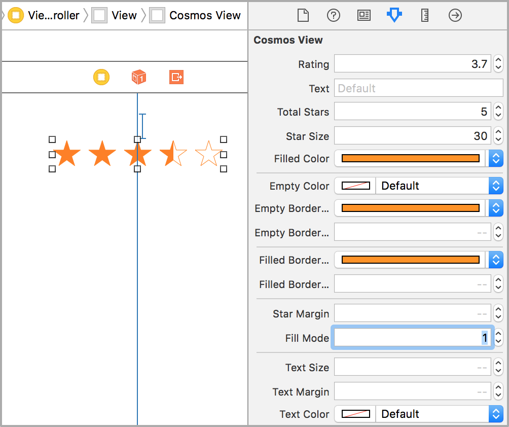 Customize cosmos appearance in the attributes inspector in Xcode.