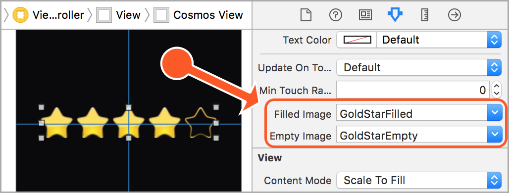 Supplying an image for a star in Xcode.