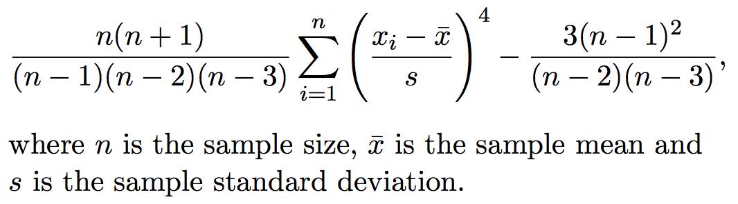 Kurtosis formula