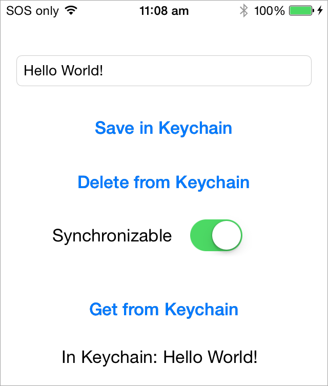 Keychain Swift demo app