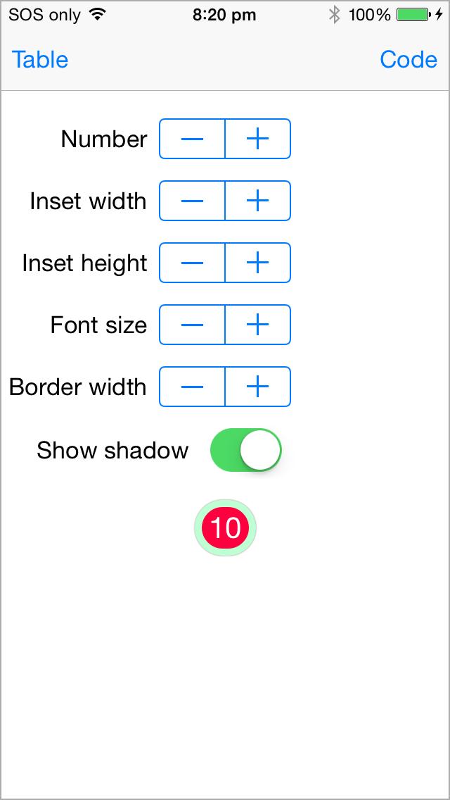 BadgeSwift for iOS demo app