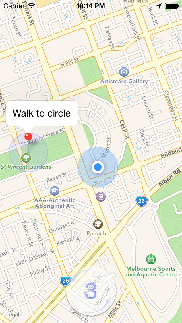 Walk to Circle iOS app screenshot