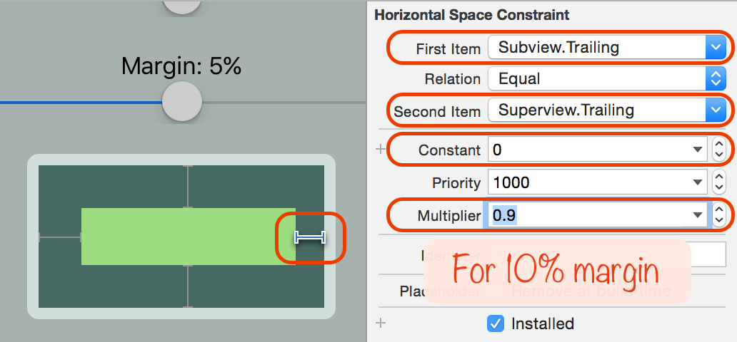 How percentage-based constraints work in iOS