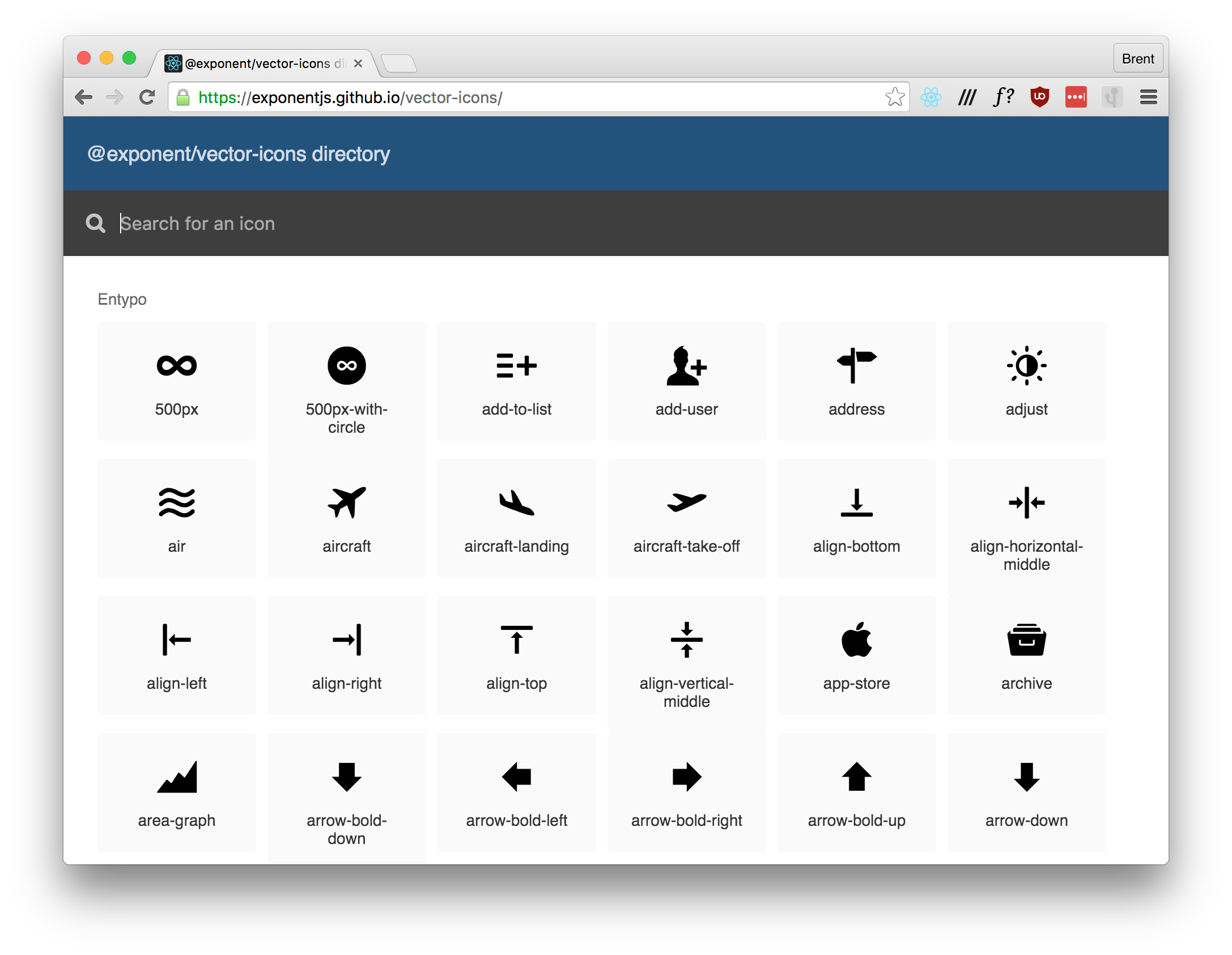 Github Expo Vector Icons