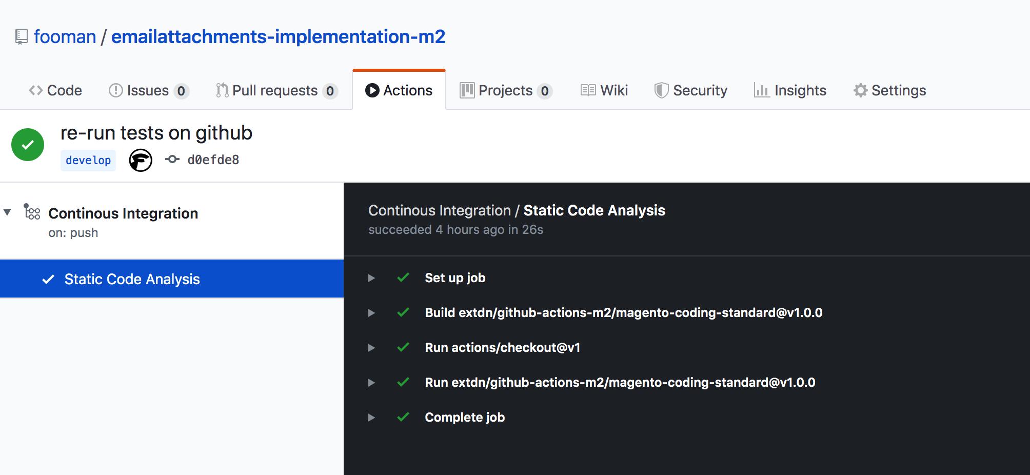 Screenshot Github Action with Coding Standard