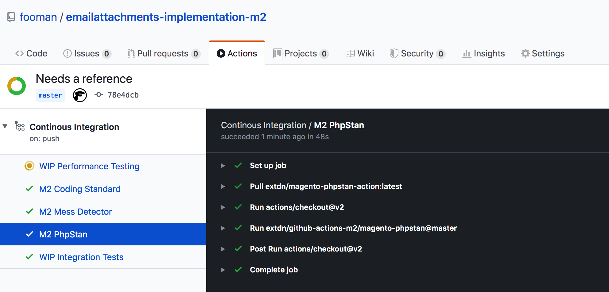 Screenshot Github Action with PHPStan
