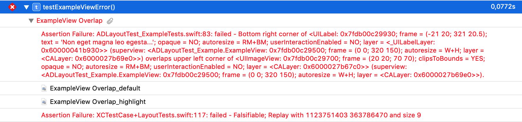Test Report Failure