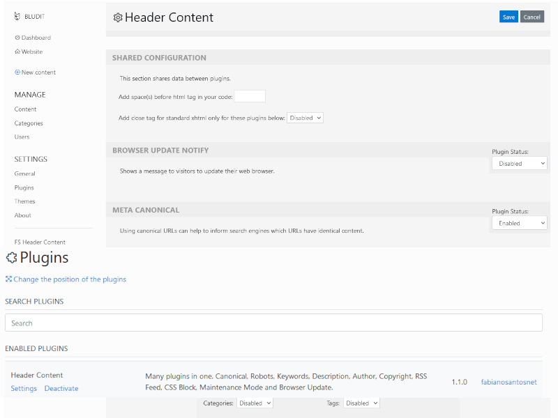 Captura de tela do Plugin Header Content