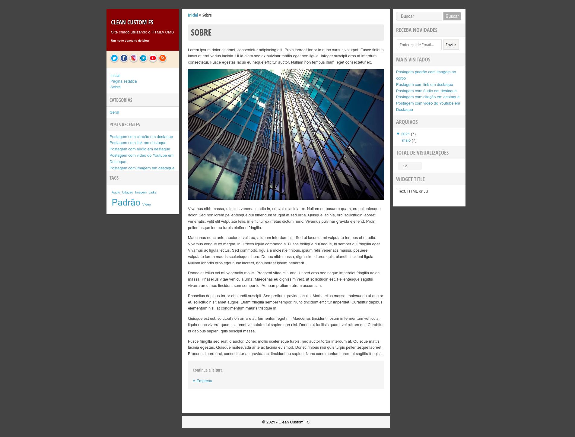 Captura de tela do FS Blog X Theme