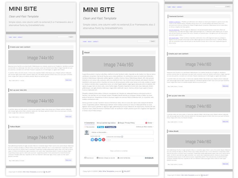 Captura de tela do Mini Site Theme