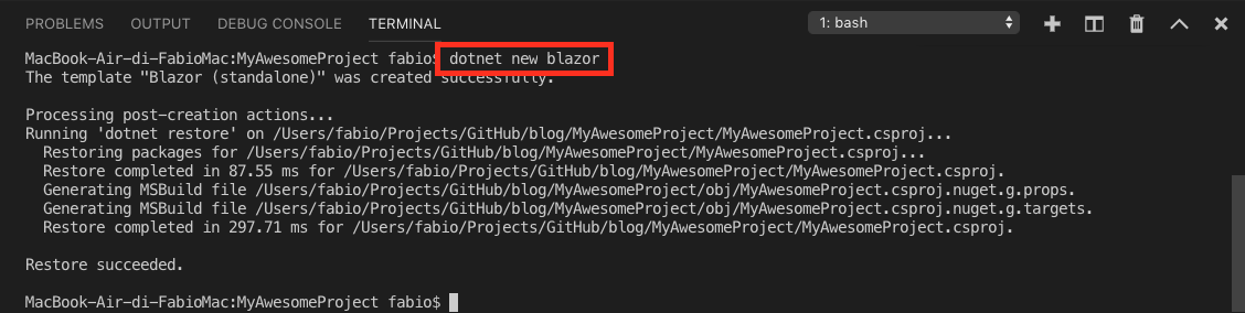Create new Blazor project