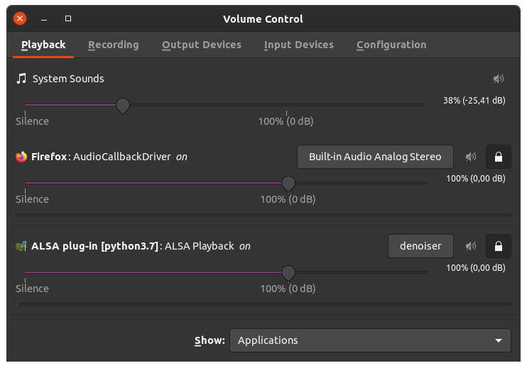 pavucontrol window and parameters to use.