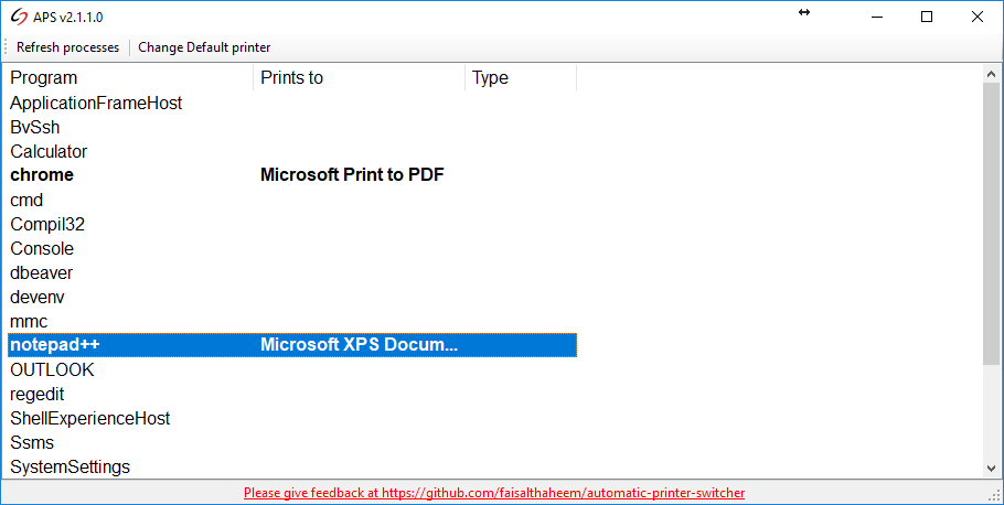 Automatic Printer Switcher Screen shot