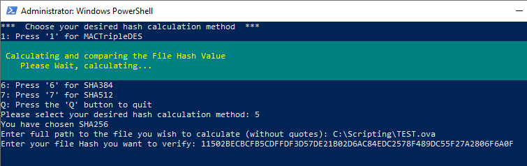 PowerShell File Hash Calculator Script Image of the progess bar