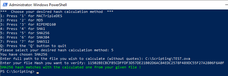 PowerShell File Hash Calculator Script Image of a valid hash