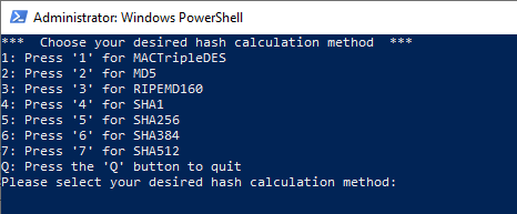 PowerShell File Hash Calculator Script Script Menu