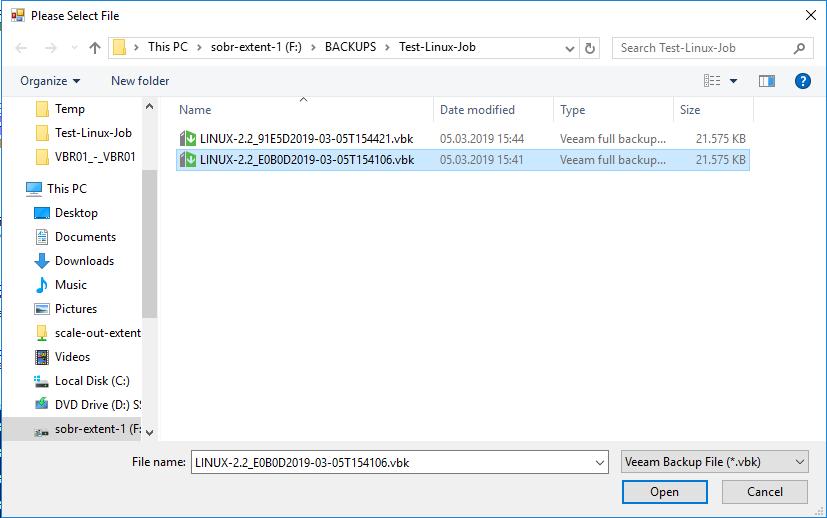 Choose a Backup File