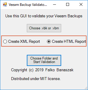 Select XML or HTML Report