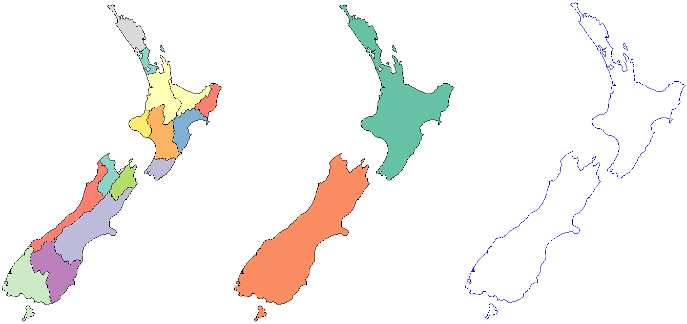Regions of nz (left), nz polygons dissolved by island (middle), nz polygons converted to lines (right).
