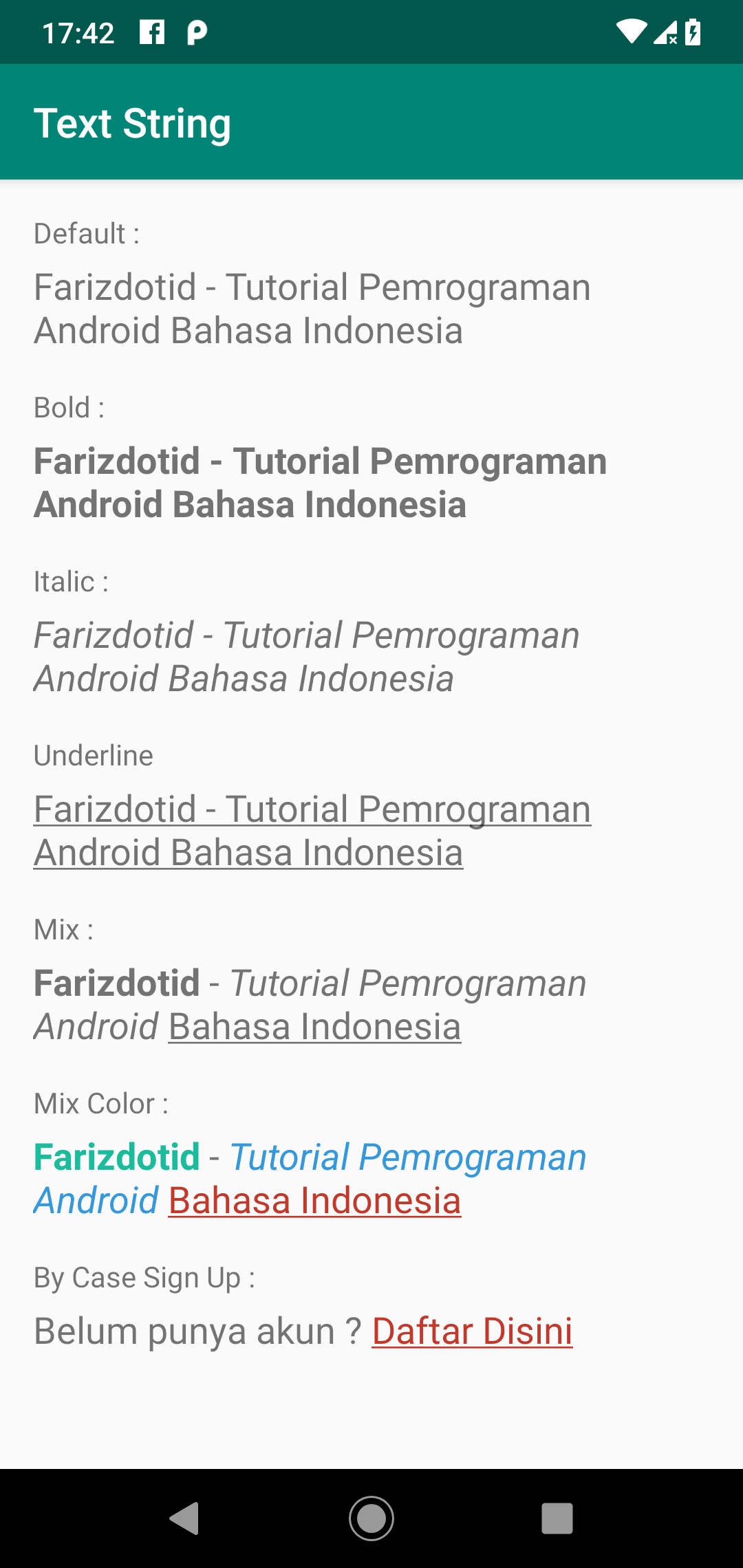 Screenshot Cara Membuat Text Bold, Italic, Underline di strings.xml