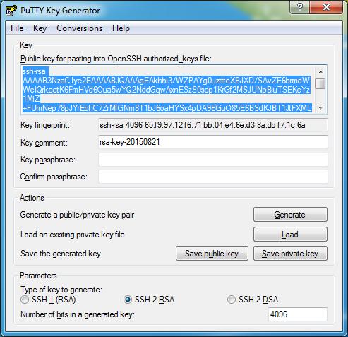 public ssh key from puttygen