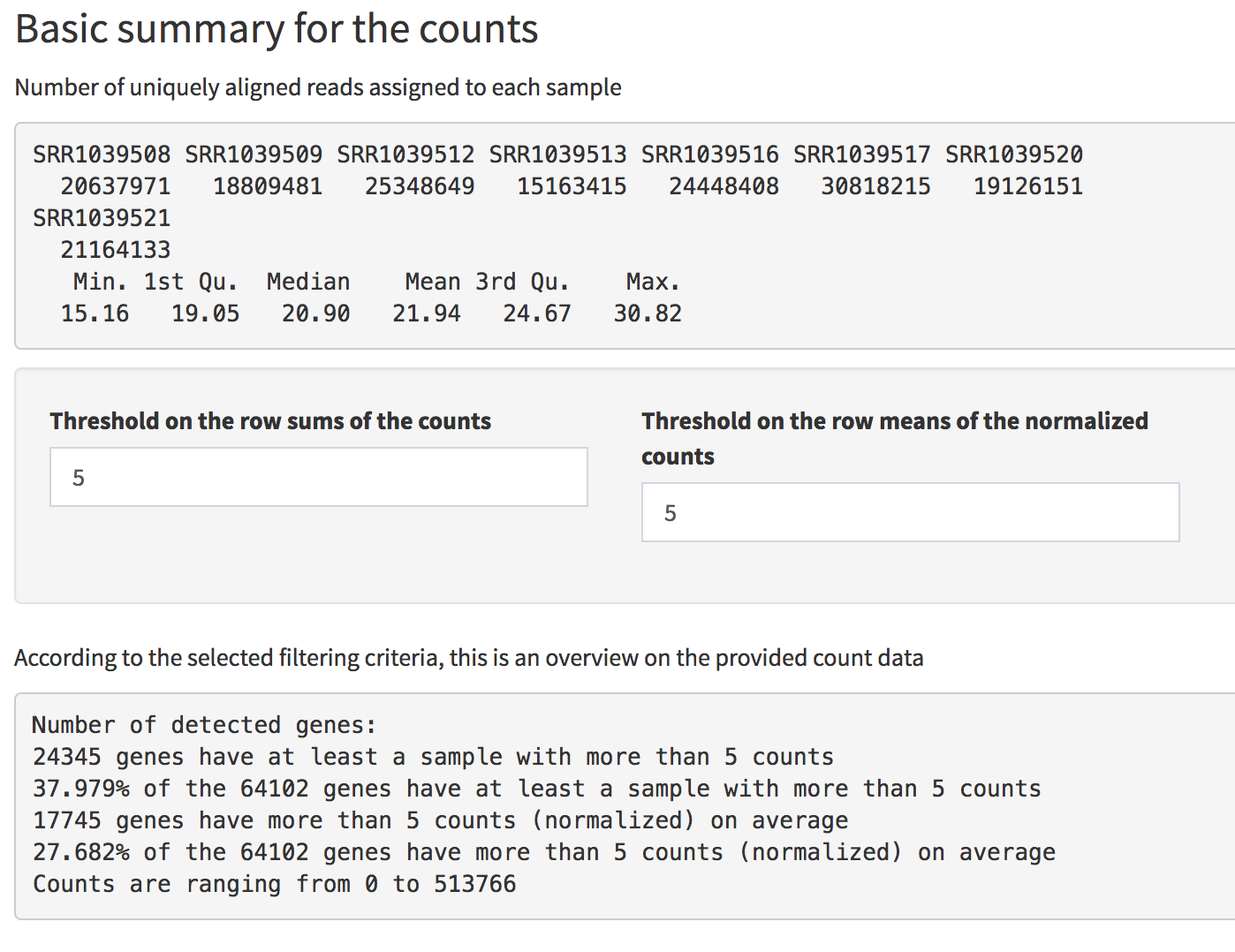 Screenshot of the Basic Summary of the counts in the Data Overview panel. General information are provided, together with an overview on detected genes according to different filtering criteria.