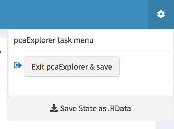 The pcaExplorer task menu. Buttons for saving the session to binary data or to a dedicated environment are displayed.