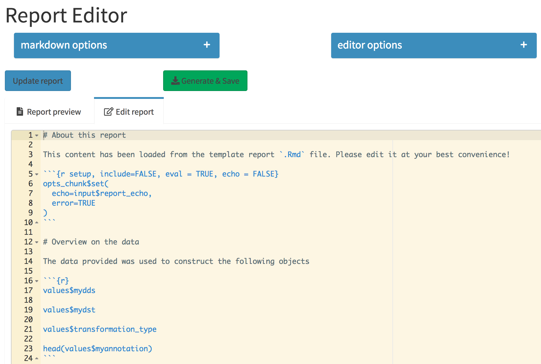 The Report Editor tab. The collapsible elements control general markdown and editor options, which are regarded when the report is compiled. Its content is specified in the Ace editor, integrated in the Shiny app.