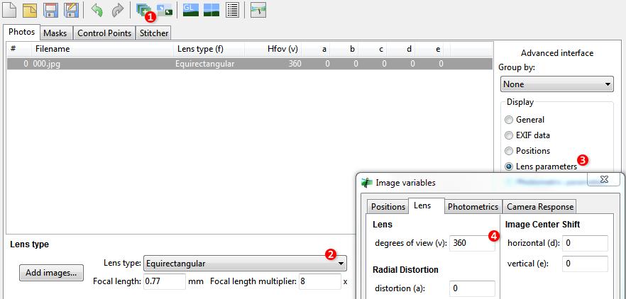 Screenshot of Hugin 2013 with Photos tab