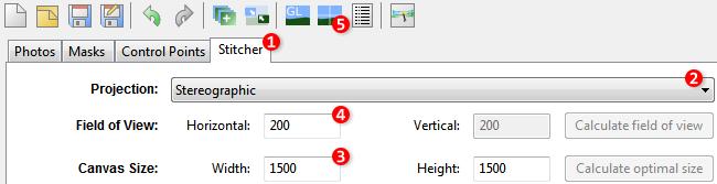 Screenshot of Hugin 2013 with Stitcher tab