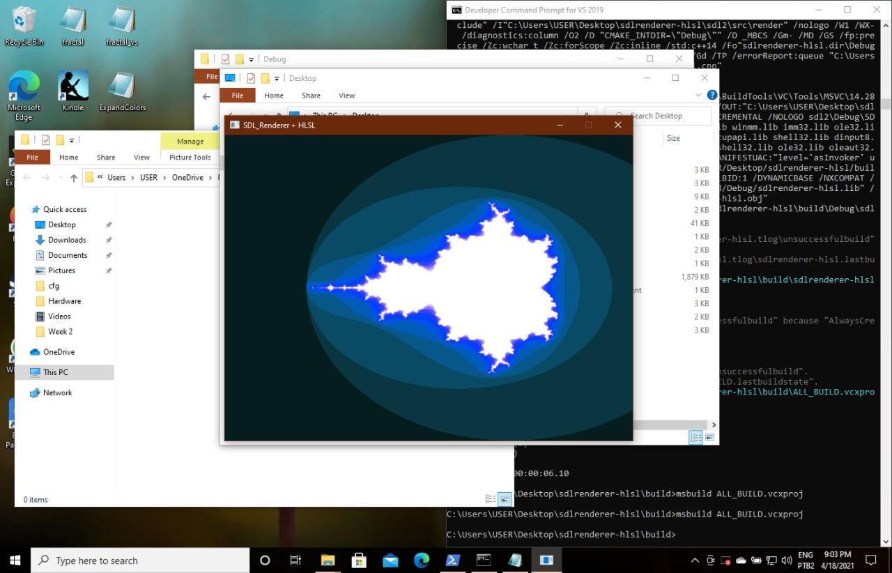 Image of a colored Mandelbrot fractal rendered with HLSL and SDL. Blue colors.