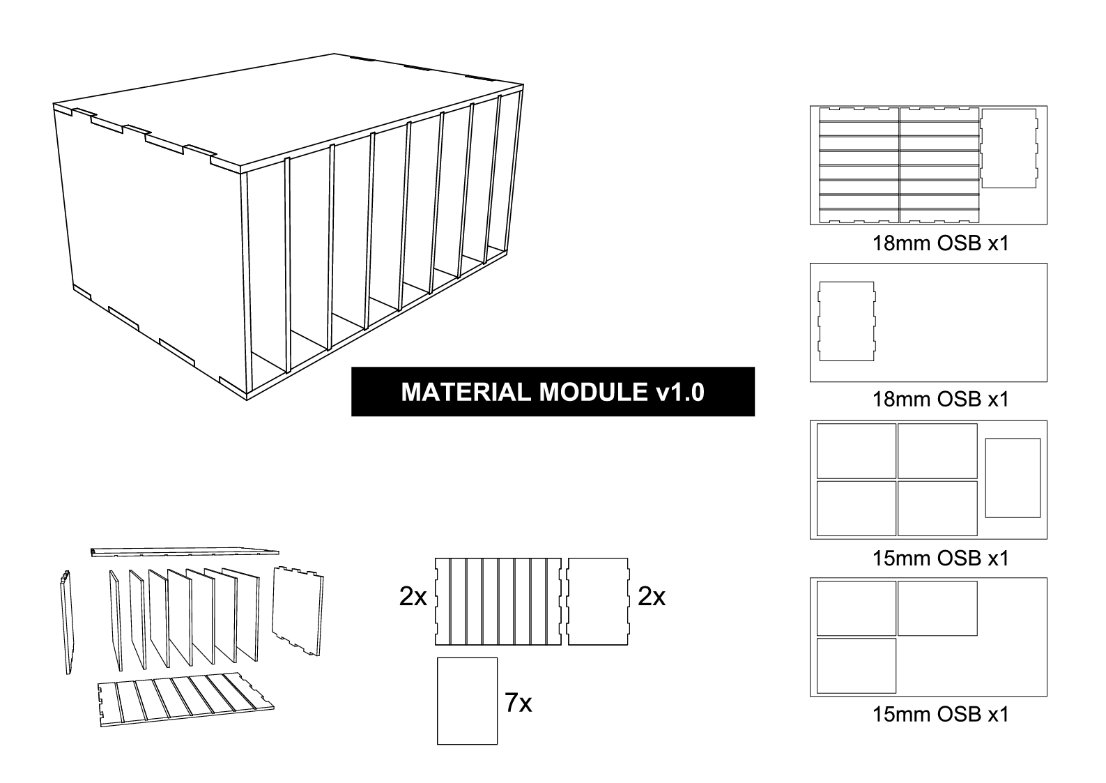 Material storage assembly drawing