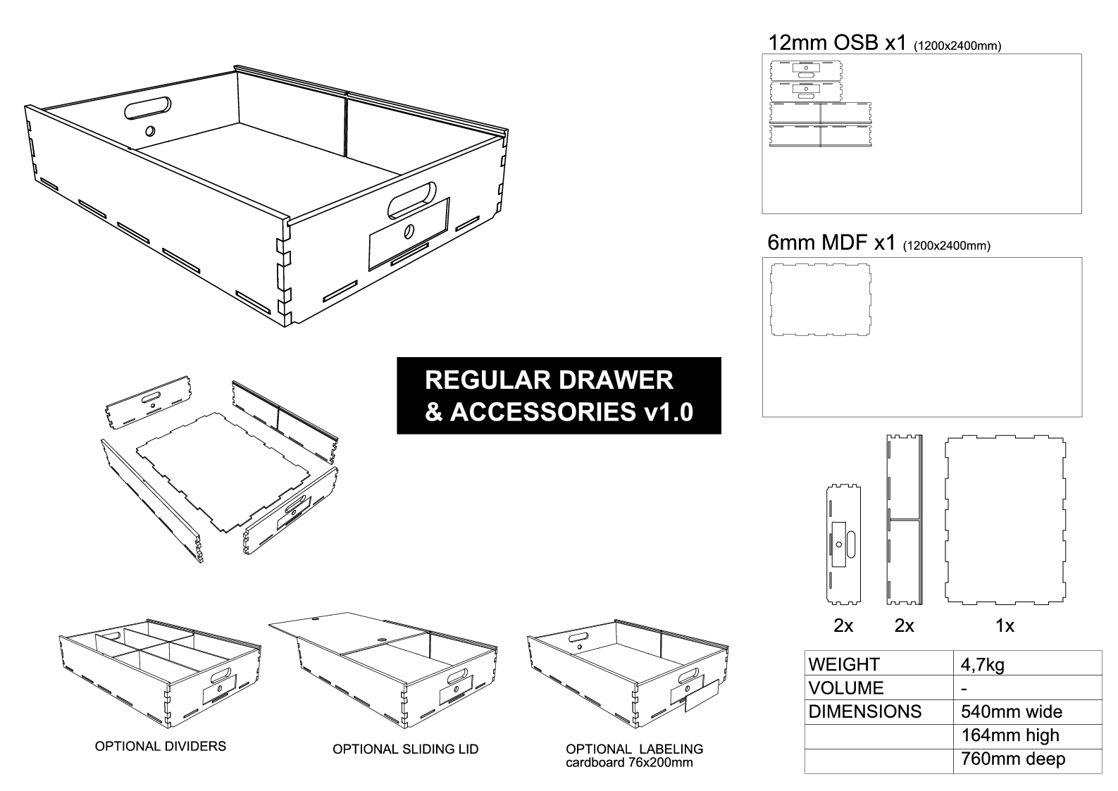 Drawer Regular assembly drawing