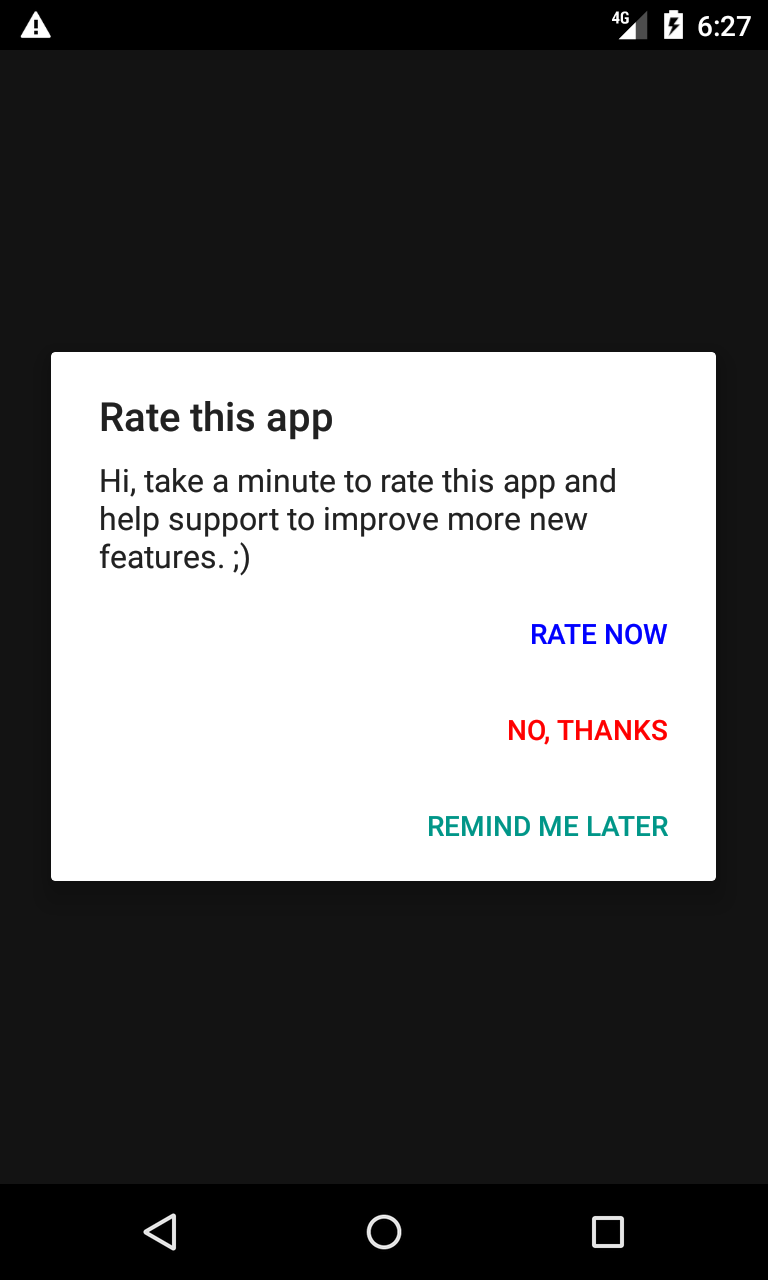 This Lib Provides A Simple Way To Display An Alert Dialog For Rating
