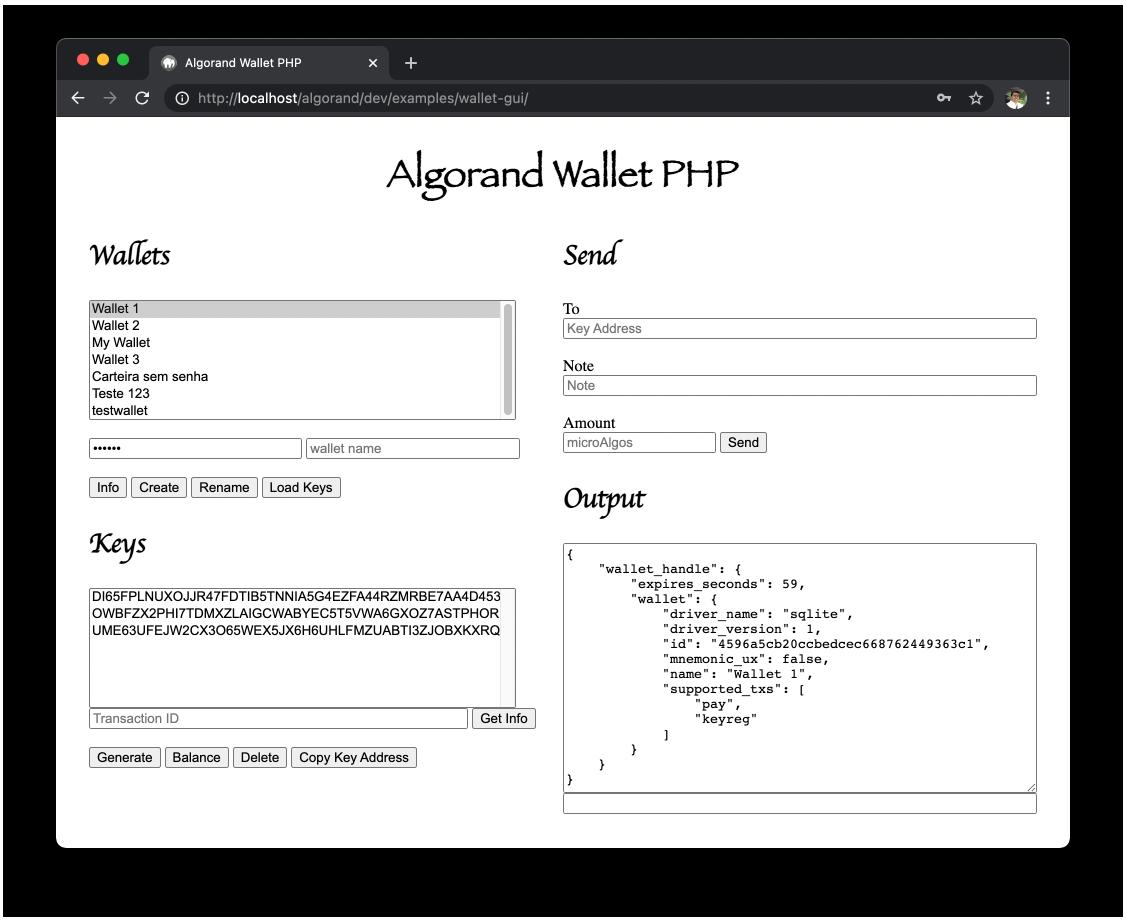 Algorand Wallet PHP GUI