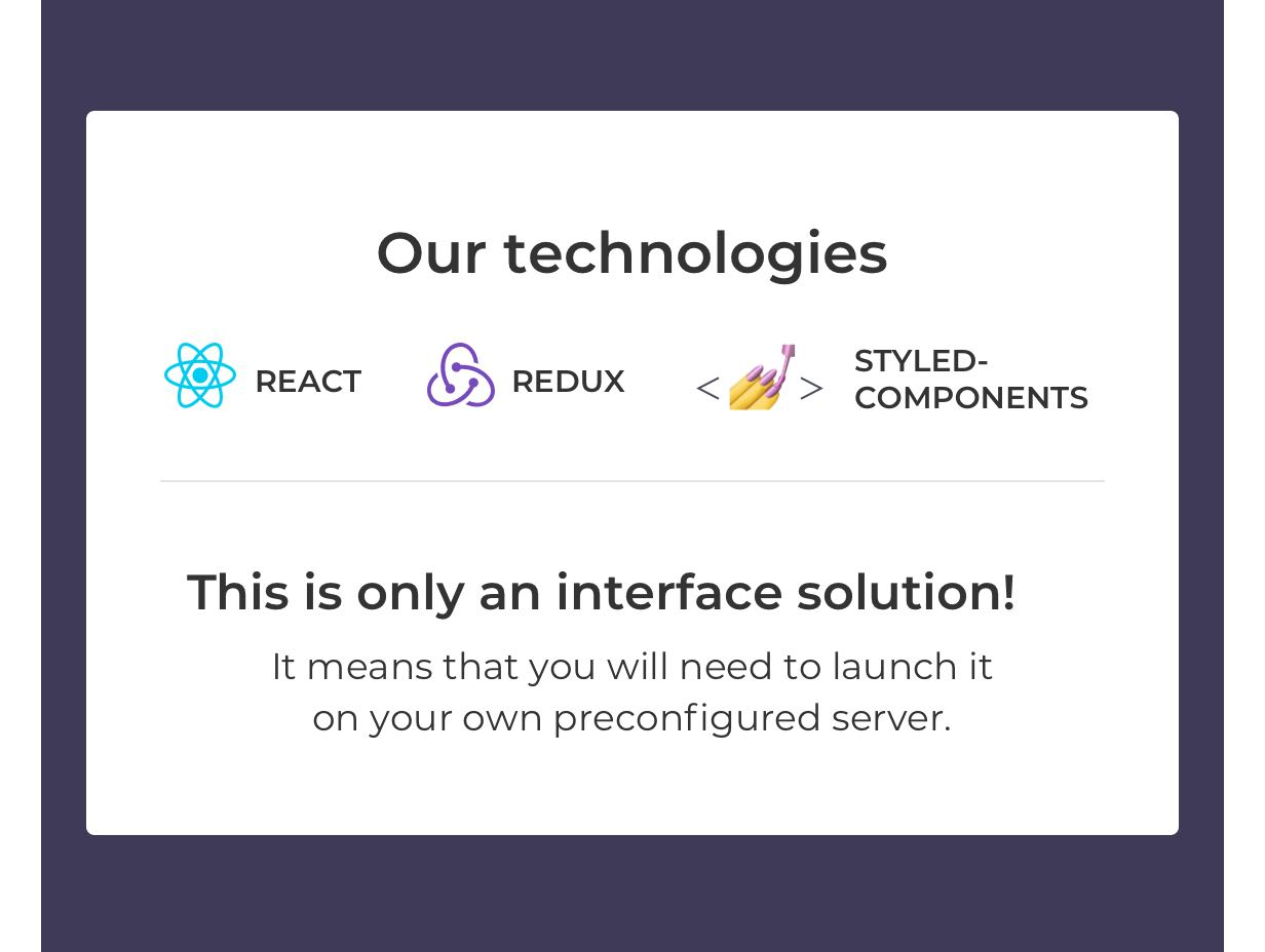 Our technologies: React, Redux, Styled-components