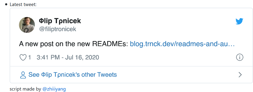 screnshot of README tweet section