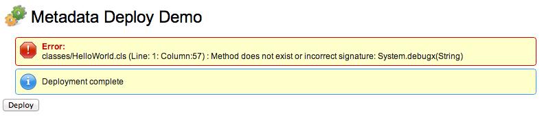 Metadata Deploy Demo Screenshot