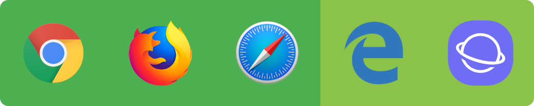 Chrome, Firefox, Safari, Edge, Samsung Internet