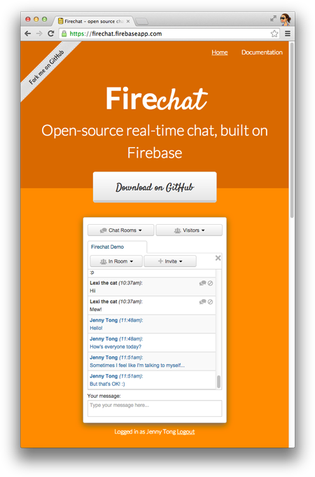 A screenshot of Jenny and Lexi the cat chatting on the Firechat demo