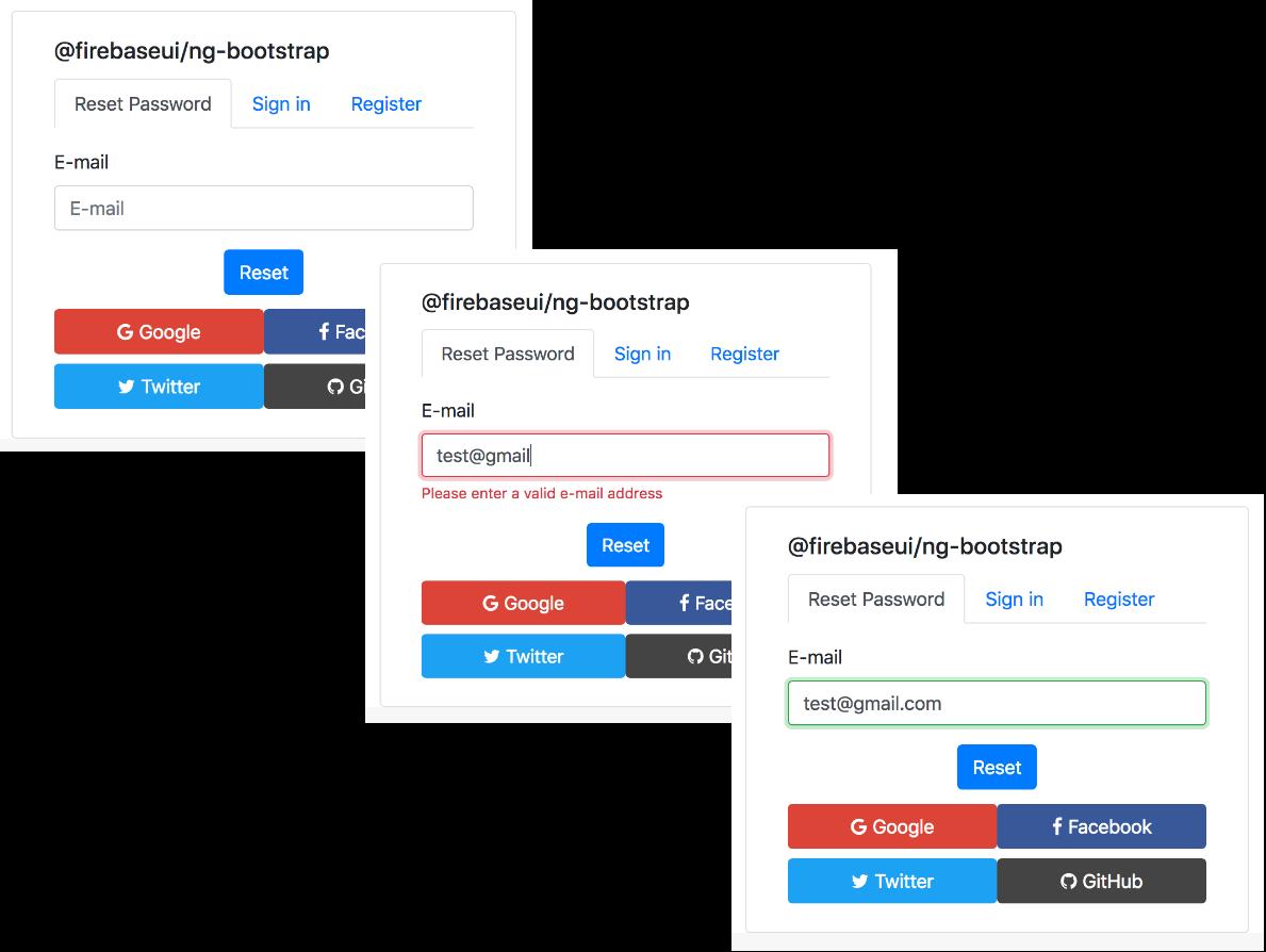 firebaseui/ng-bootstrap - reset password demo image