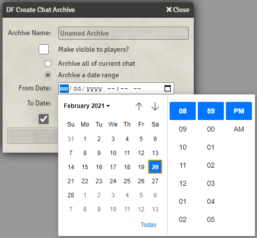 Create chat archive window