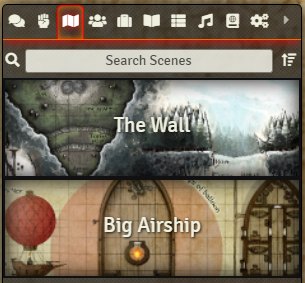 Player View of Scenes Tab