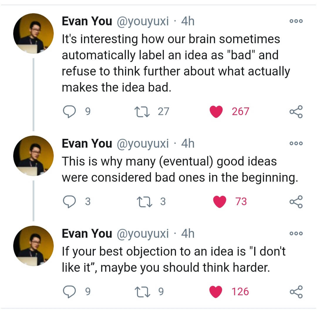 """Evan You quote about """"bad"""" ideas"""