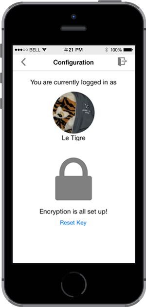 Configruation screen with encryption set up