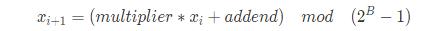 Java中48线性同余数发生器公式