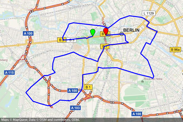 Static map of the Berlin Marathon