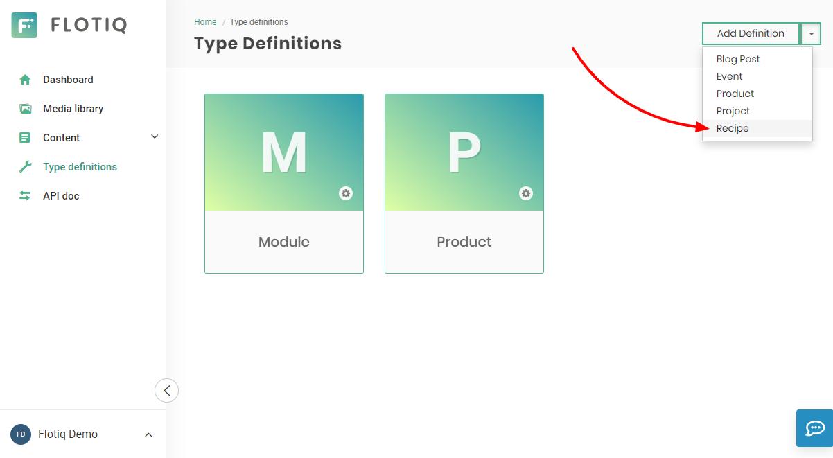 Recipe content type in flotiq